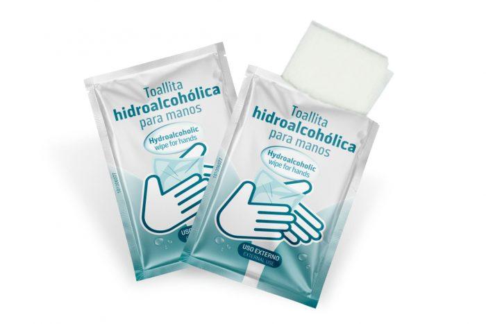 Sachets con toallitas hidroalcoholicas